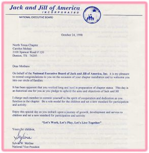 JNJ-1998-Chartering Letter from National Vice-President
